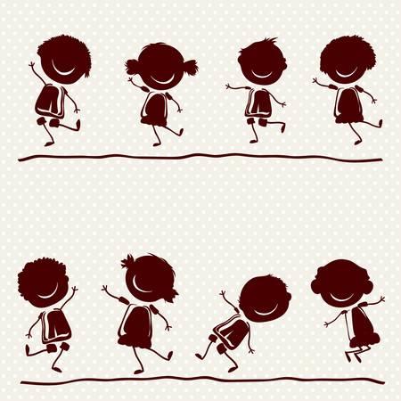 enfants qui jouent: silhouettes d'enfants heureux jouant