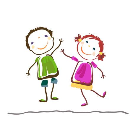 little boy and girl; happy kids