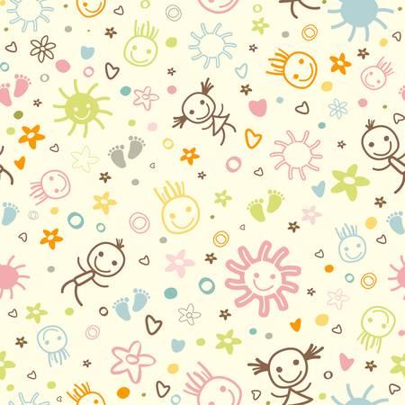 Baby nahtlose Muster mit niedlichen Elementen