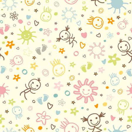 kid feet: baby seamless pattern with cute elements Illustration