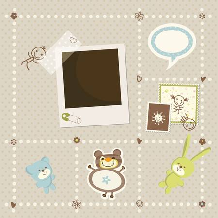 baby boy card with photo frame Vector
