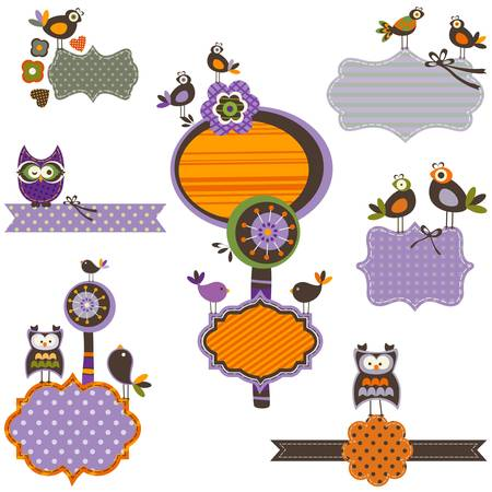 Halloween frames set with birds  Vector