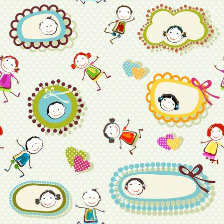 colorful background with happy children playing Illustration