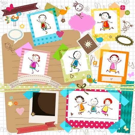 love cartoon: happy kids and photo frame