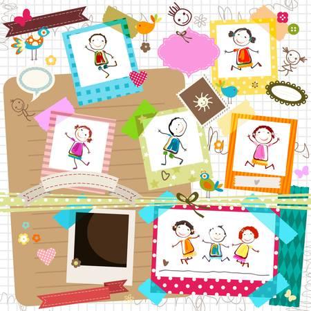 niños felices: niños felices y marco de fotos