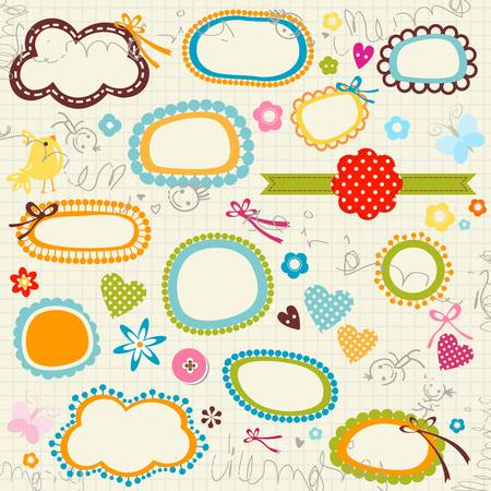 kritzelte notebook page, Etiketten, Blumen, Herzen Illustration