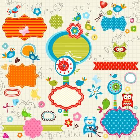 kritzelte Notebook-Seite, Vögel, Etiketten, Blumen