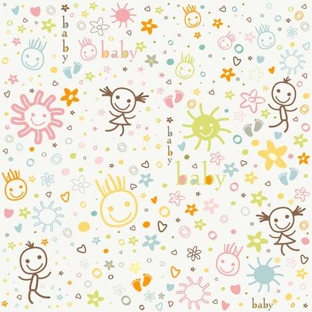 baby background, colorful cute elements Zdjęcie Seryjne - 18873212