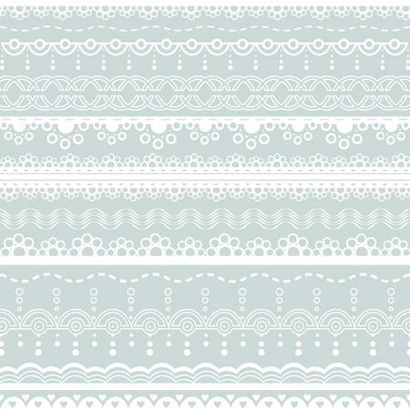 with sets of elements: set of white lace borders  Illustration