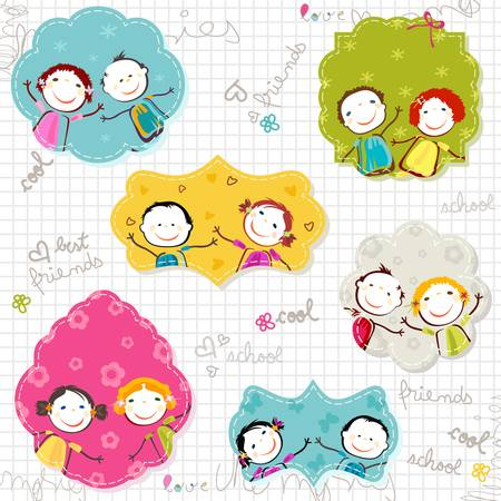 kids drawing: happy children frames on scribbled paper Illustration