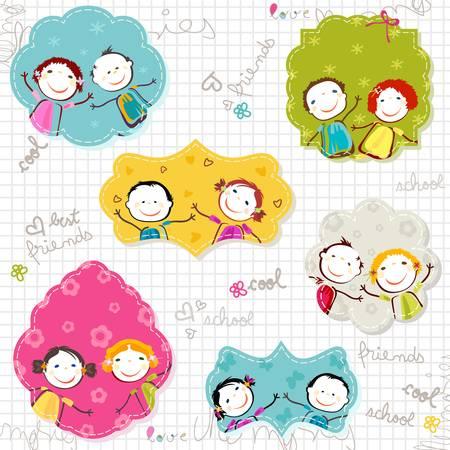 niños felices: marcos de niños felices en papel garabateado