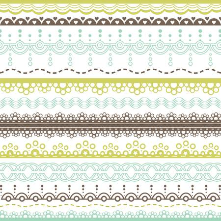 set of blue, green and brown lace borders