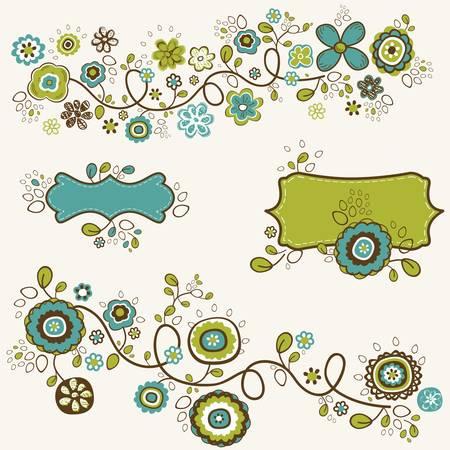 doodle flowers design, vector illustration