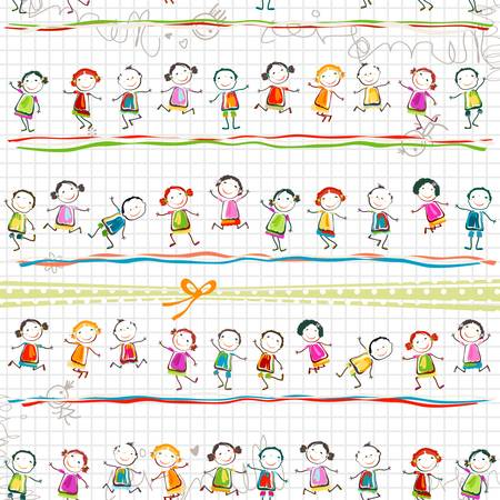 ecole maternelle: des enfants heureux jouant Illustration
