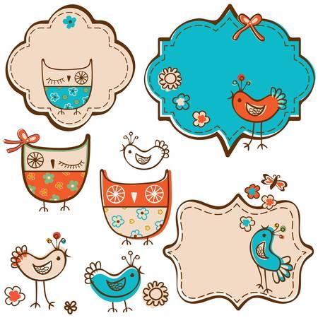 owls and little birds design elements Illustration