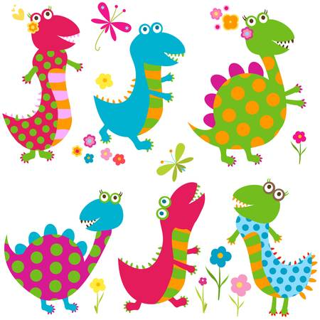 dinos set, happy cute colorful dinosaurs Vector