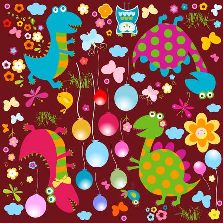 happy cute colorful dinosaurs background  Vector