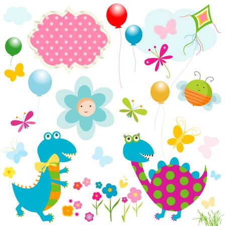 dinos card, happy cute colorful dinosaurs Stock Vector - 19867055