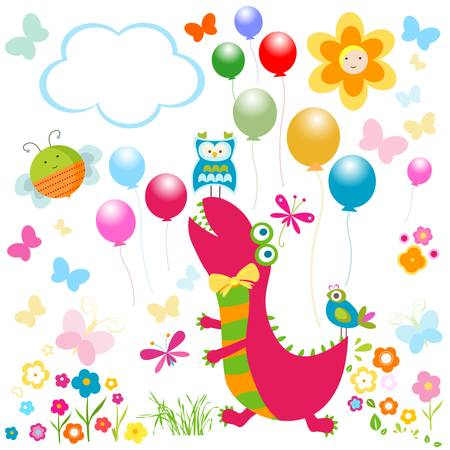 dinos card, happy cute colorful dinosaurs Stock Vector - 19867054