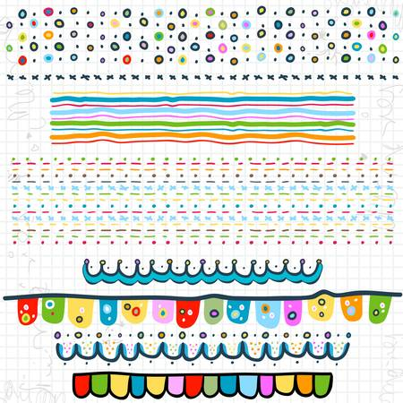 doodle borders on scribbled school page Vector