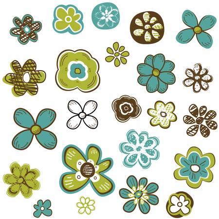 doodle flowers set illustration Illustration