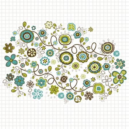 doodle flowers design illustration