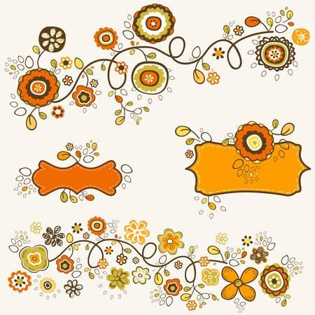 autumn flowers design illustration
