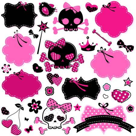 large set of wild girlish cute skulls and other elements Vector