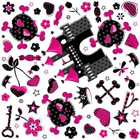 girlish: cute aggressive girlish black and red background Illustration