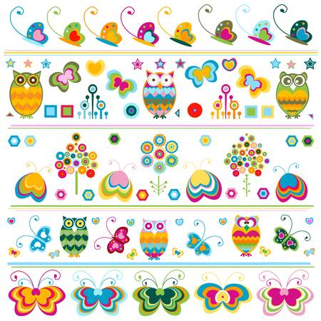 birds, butterflies, flowers etc borders, cute  colorful elements  Stock Vector - 20197707