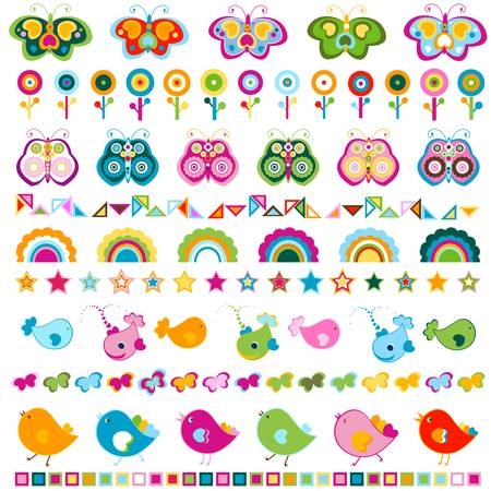 birds, butterflies, flowers etc borders, cute  colorful elements  Stock Vector - 20197716