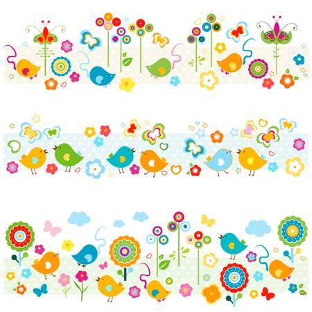 nature borders with birds, butterflies, flowers mouse, cute colorful elements  Stock Vector - 20197718