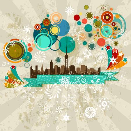 winter holiday city line retro style party design Vector