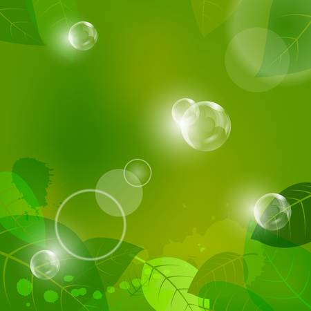 fantasy background with leaves and air bubbles Illustration