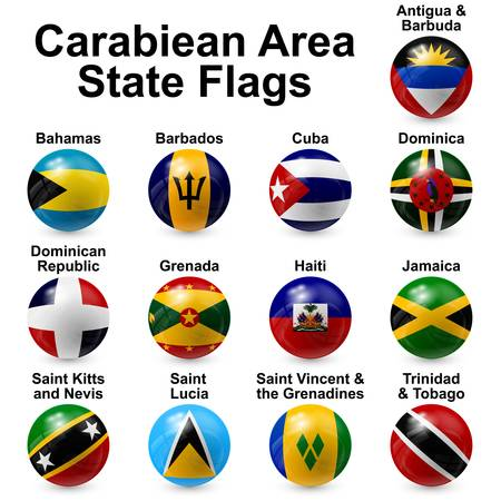 caribbean area state flags Stock Vector - 20197802