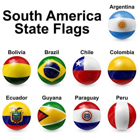 sur: banderas del estado Suramérica Vectores