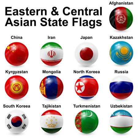 Eastern and Central Asian State Flags Vector
