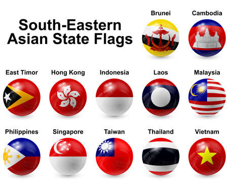 Süd-Ost-Asien State Flags Editorial