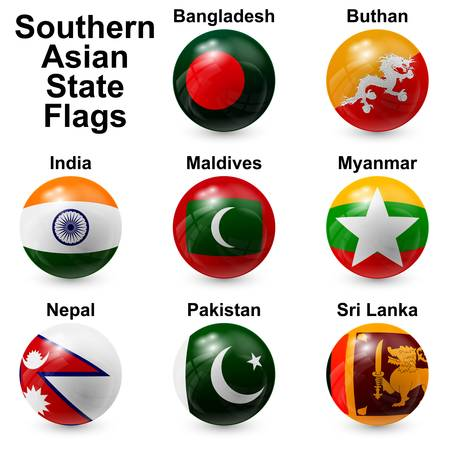 Southern Asian State Flags Vector