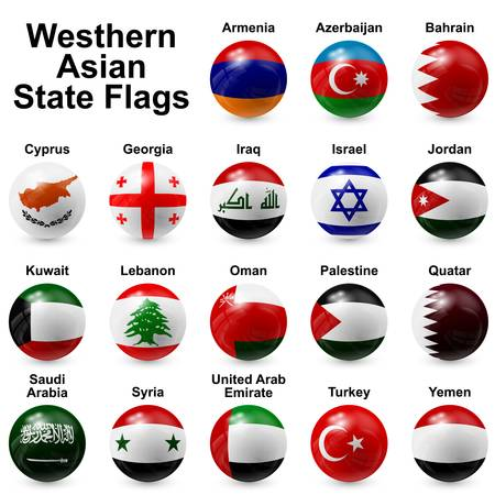 arab flags: Western Asian State Flags Illustration