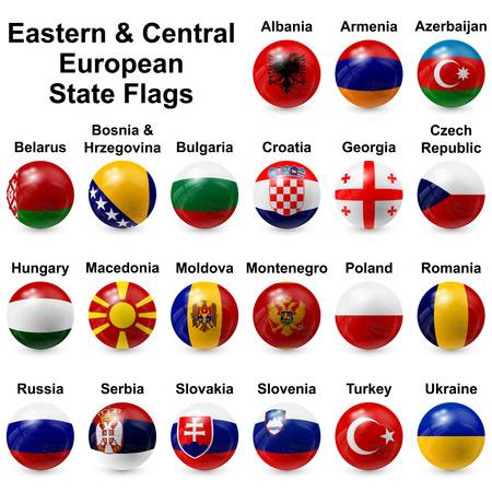Eastern   Central European State Flags Illustration