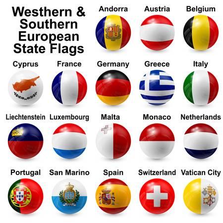 Occidentali del sud dell'Europa Bandiere statali Archivio Fotografico - 20197798