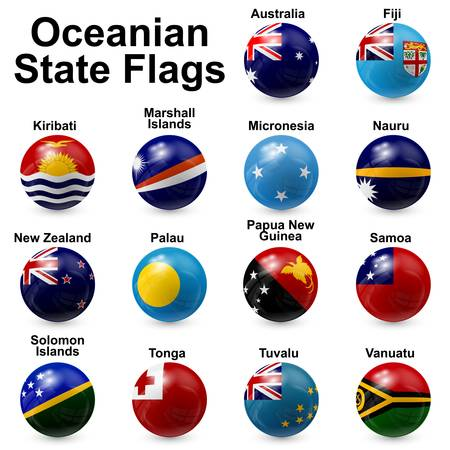 Oceania State Flags - ball shape Vector