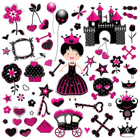 aggressive fashion style princess set with castle and other cute elements in black and red  Vector