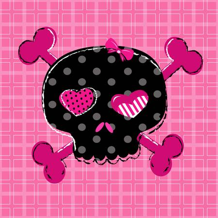 cute aggressive girlish black and red skull on pink background Stock Vector - 20220451