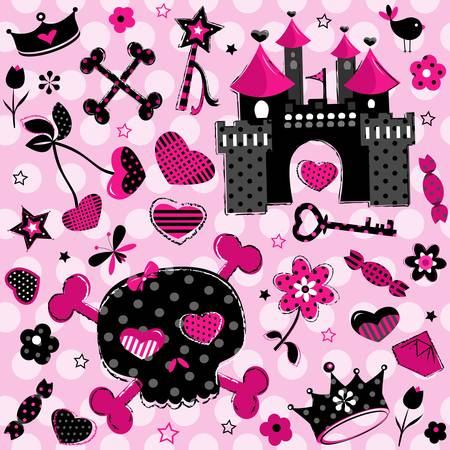 cute aggressive girlish black and red elements set on pink background Vector
