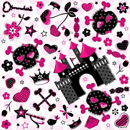 castillos de princesas: patr�n de ni�a agresiva lindo en el fondo de color rosa