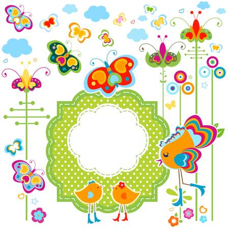 fashion birds card with colorful flowers and butterflies Stock Vector - 20220457