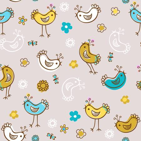 birds and flowers seamless pattern Stock Vector - 20220456