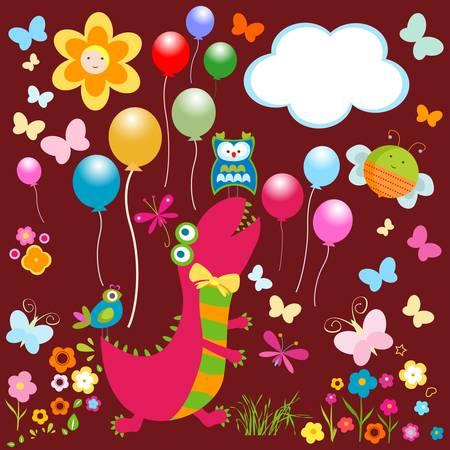 dinos card, happy cute colorful dinosaurs Stok Fotoğraf - 20220452